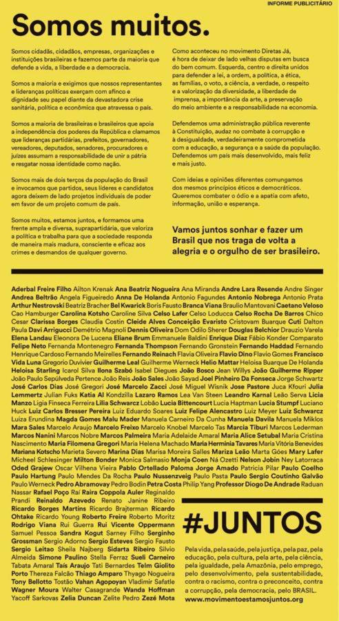 """Movimento """"estamos #Juntos"""" lança manifesto em defesa da vida, da liberdade, e da democracia no Brasil"""