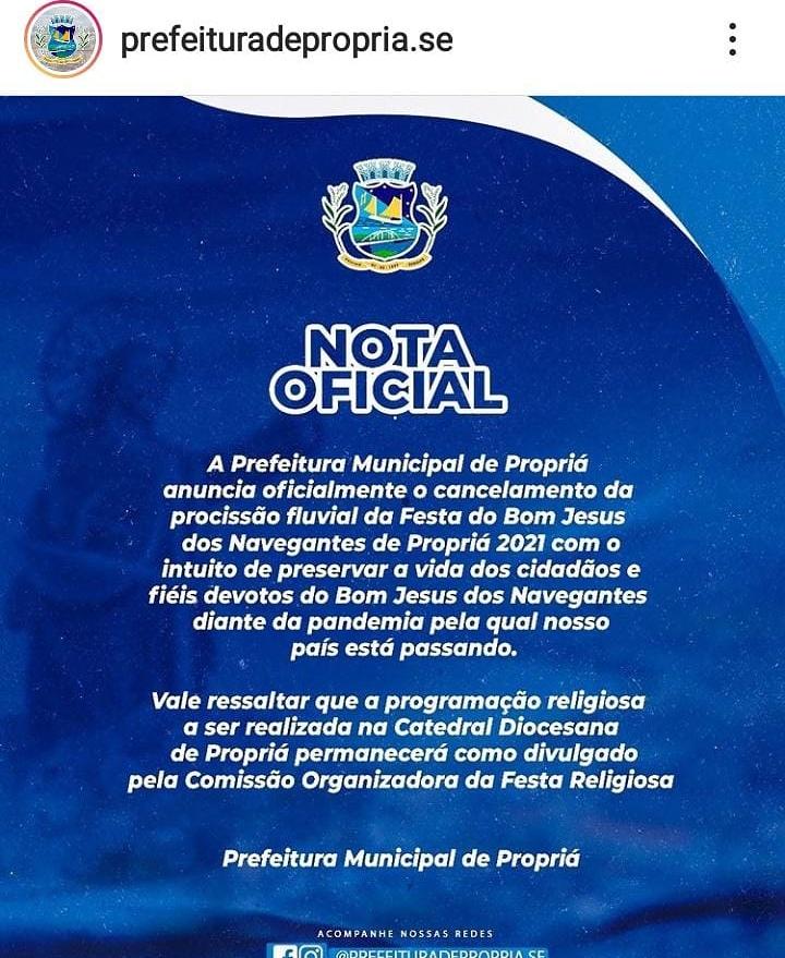 Sábia decisão: Prefeitura de Propriá cancela procissão fluvial do Bom Jesus dos Navegantes